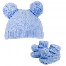 H610-B: Blue Pom Pom Hat & Bootee Set (0-6m)