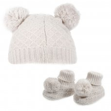 H610-BE: Beige Pom Pom Hat & Bootee Set (0-6m)