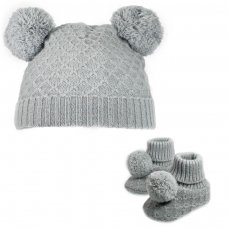 H610-G: Grey Pom Pom Hat & Bootee Set (0-6m)