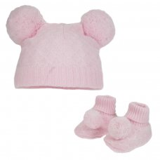 H610-P: Pink Pom Pom Hat & Bootee Set (0-6m)