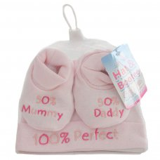 HB03-P: Pink Hat & Bootee Set