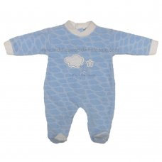 HB1104: Baby Boys Embossed Clouds Cotton Rich Velour All In One (0-6 Months)