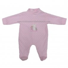 HB1112: Baby Girls Embossed Hearts Cotton Rich Velour All In One (0-6 Months)