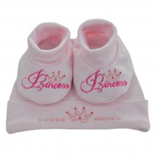 HB15-P: Princess Hat & Bootee Set