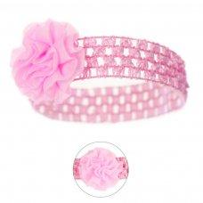 HB40-P: Crochet Headband w/Organza Flower
