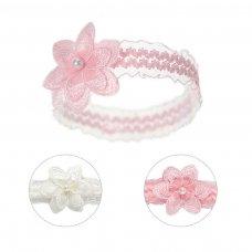 HB41: Lace Headband w/Crochet Flower & Pearl