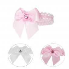 HB42: Lace Headband w/Satin Bow & Gem