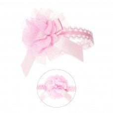 HB45-P: Lace Headband w/Lace Flower & Bow w/Gem