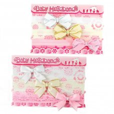 HB47: 3 Pack Headbands w/Bow & Gold or Silver Trim