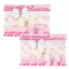 HB50: 3 Pack Headbands w/Bow & Heart Diamonte