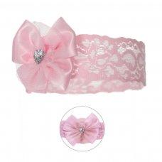 HB60-P: Lace Headband w/Bow & Gem