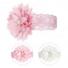 HB61: Lace Headband w/Flower & Pearl