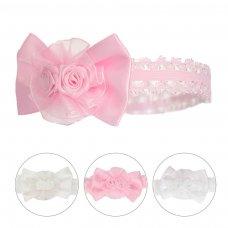 HB62: Shiny Lace Headband w/Bow & Flower