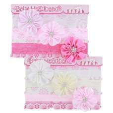 HB64: 3 Pack Headbands w/Satin Flower & Flower Diamonte