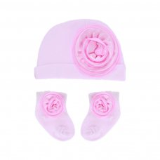 HS102: Hat & Sock Set w/Flower