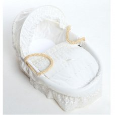Luxury White Broderie Anglaise 3 Piece Moses Basket Dressing Set