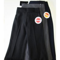 Girls 3 Button, Elastic Back, Zip Front School Trouser- Black