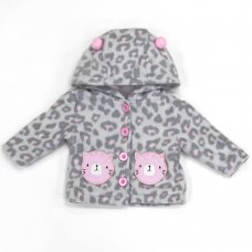 L2116: Baby Cat All Over Print Hooded Fleece Jacket (3-12 Months)