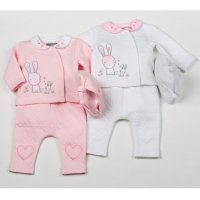 H1951: Baby Girls Bunny Cotton Rich Quilted Jacquard 3 Piece Set (NB-6 Months)