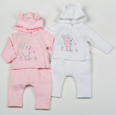 H1952: Baby Girls Bunny Cotton Rich Quilted Jacquard 3 Piece Set (NB-6 Months)