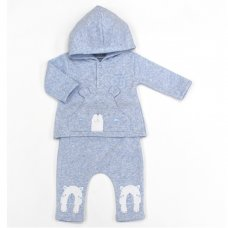 L1053: Baby Boys Bear Hooded Top & Pant Set (0-9 Months)