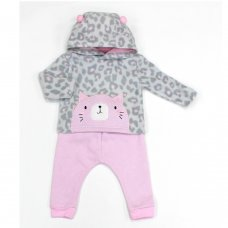 L2112: Baby Cat Hooded Fleece Top & Jog Pant Set (3-12 Months)