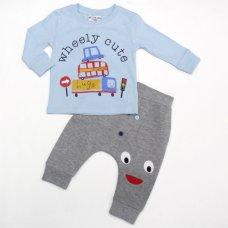 L2182: Baby Boys Wheely Cute Top & Jog Pant Set (3-12 Months)