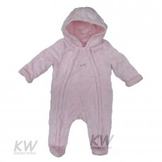 K12724: Baby Girls Cotton Lined, Embossed Hearts Plush Fleece Snowsuit (0-9 Months)