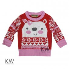 K12949: Baby Girls Christmas Knitted Jumper (3-24 Months)