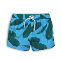 KB BOARD 7P: Leaf Print Board Swim Shorts (8-13 Years)