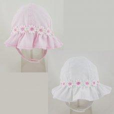0237: Baby Girls Daisy Chain Frill Cloche Hat (0-6 Months)