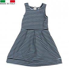 M14376: Girls Blue Striped Dress (7-12 Years)