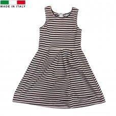 M14377: Girls Pink Striped Dress (7-12 Years)