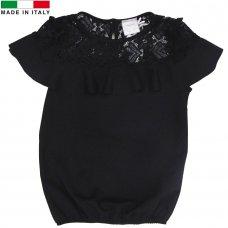 M14409: Girls Black Short Sleeved Top (5-12 Years)