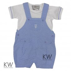 M14573: Baby Boys Royal Baby Chambray Dungaree Outfit (0-12 Months)