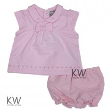 M14580: Baby Girls Cotton Top & Jacquard Flower Short Set (0-12 Months)