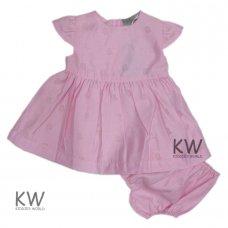 M14743: Baby Girls Cotton, Lined Devore Bird Dress & Pant Set (0-12 Months)