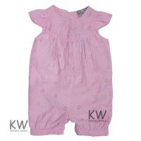 M14744: Baby Girls Cotton, Lined Devore Bird Romper (0-12 Months)