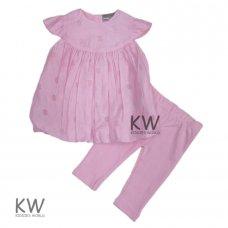 M14745: Baby Girls Cotton, Lined Devore Bird Dress & Legging Set (0-12 Months)
