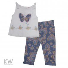 M14781: Baby Girls Butterfly Top & Batik Print Pant Set (6-24 Months)