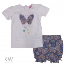 M14904: Baby Girls Butterfly T-Shirt & Batik Print Short Set (6-24 Months)