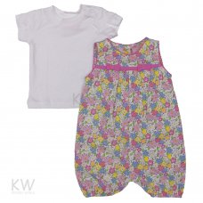 M14911: Baby Girls Floral Romper & T-Shirt Set (0-3 Months)