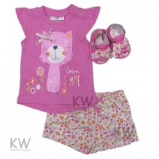 M15002: Baby Girls 3D T-Shirt, Floral Short & Sandals Set (3-18 Months)