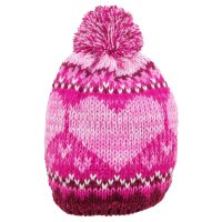 M4184: Girls Heart Knit Hat with Pom (1-4 Years)