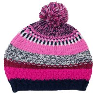 M4185: Girls Striped Knit Hat with Pom (4-8 Years)