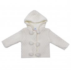 MC1815W: Baby White Double Knit Hooded Pom Pom Cardigan (0-9 Months)
