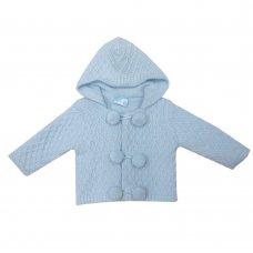 MC1815B: Baby Blue Double Knit Hooded Pom Pom Cardigan (0-9 Months)
