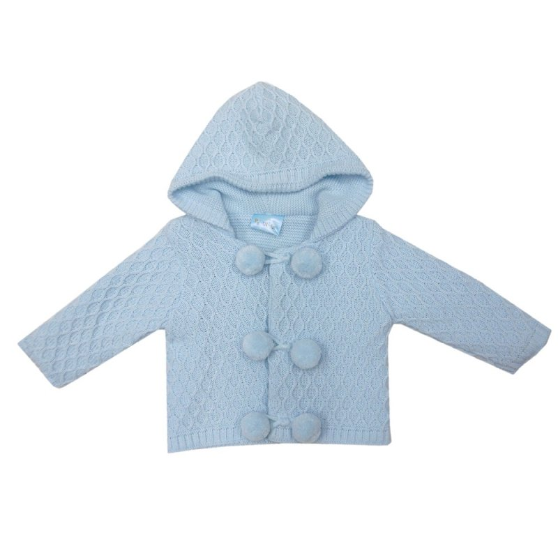 MC1815B: Baby Blue Double Knit Hooded Pom Pom Cardigan (0-9 Months)