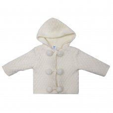MC1815C: Baby Cream Double Knit Hooded Pom Pom Cardigan (0-9 Months)