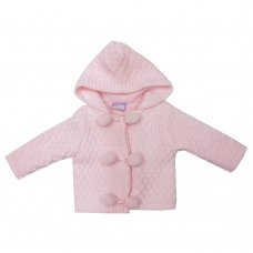 MC1815P: Baby Pink Double Knit Hooded Pom Pom Cardigan (0-9 Months)